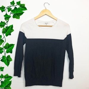 {Madewell} Color Block Black & White Light Sweater
